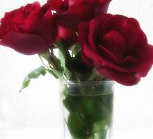 Dark Red Roses in Glass 2 by Christopher Johnson