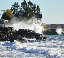 Kennebunk Maine Beach - Storm Waves by MaryinMaine