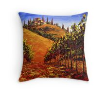 Tuscany Vineyard on the Hill Throw Pillow