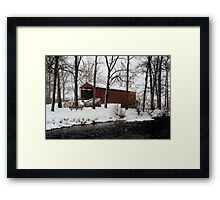 Snowstorm at Poole Forge Covered Bridge Framed Print