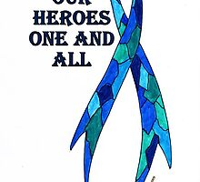 Blue Camoflauge Ribbon of Support  by James Peele
