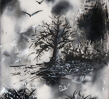 Birds, Tree and Chaos (my painting job) IV  by Antanas