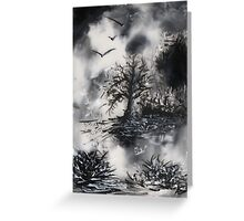 Birds, Tree and Chaos (my painting job) IV  Greeting Card