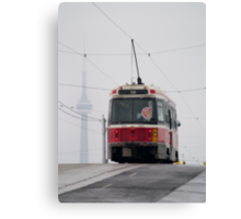 Street car and CN tower, Toronto Canvas Print