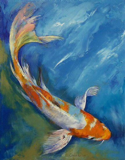 Acrylic painting aquatique on pinterest fish paintings for Koi prints canvas
