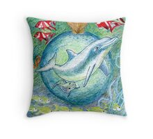 Mother dolphin Print Throw Pillow