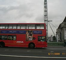 London Bus on Waterloo Bridge by Jadavision