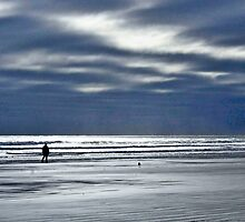 Silhouette on Long Sands Beach by Brenda Dow