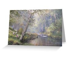 Grazing by the Coquet, Northumberland, England Greeting Card
