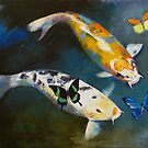 Koi Fish and Butterflies by Michael Creese