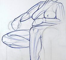 Seated Female Nude in Ballpoint Pen by Enchanted Studios