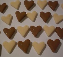 Chocolate Brown and Cream Love Hearts by Jadavision