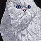 White Persian Vignette by Anita Meistrell Putman