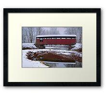 Lairdsville Covered Bridge In Winter Framed Print