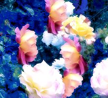 Abstracted Composition With Roses by Ivana Redwine
