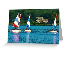 Striped Sails at Mystic, Connecticut Greeting Card