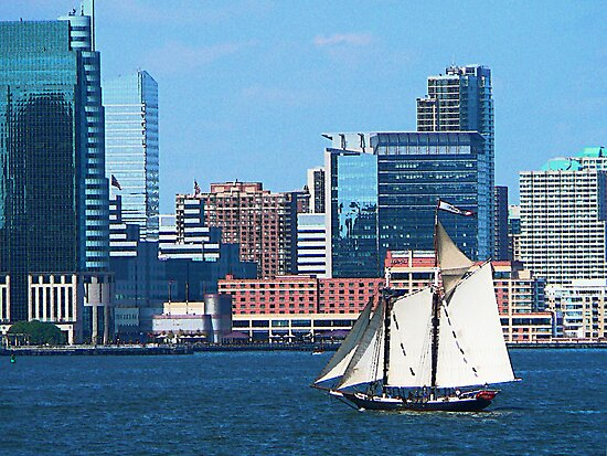 Yacht Against Manhattan Skyline by Susan Savad
