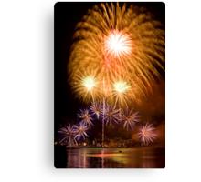 Sunflower Burst - Sydney Harbour - New Years Eve - Midnight Fireworks Canvas Print