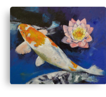 Gin Rin Koi and Water Lily Canvas Print