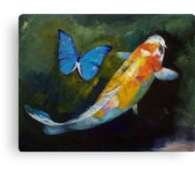 Kujaku Koi and Butterfly Canvas Print