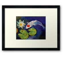 Tancho Koi and Water Lily Framed Print