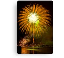 Single Sunflower Supernova - Sydney Harbour - New Years Eve - Midnight Fireworks  Canvas Print