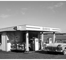 OId Mobil Gasstation Black n White by Duck-Flower