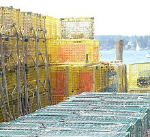 Lobster Traps, Boothbay Harbor, Maine by Corkle