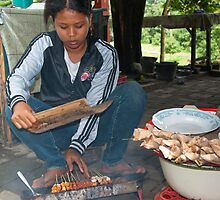 Preparing Satay by Werner Padarin