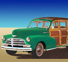 "1948 Chevrolet Woody titled ""No Beach In Sight"" by buzhitchcock"