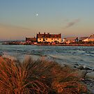 Mudeford - Waning Moon Over Mudeford Run by delros