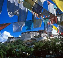 Lhasa Potala Palace with prayer flags by Kerry Dunstone