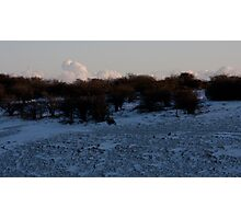 Dyke in snow with shadow scrub and cloud Photographic Print