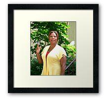 Queen Latifa on the set Framed Print