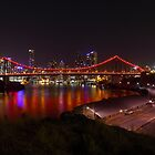 Story Bridge in pink lighting by Andrew Durick