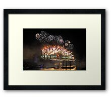 Sydney New Year Eve 2009 Fireworks - Many Colours Framed Print