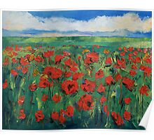 Field of Red Poppies Poster