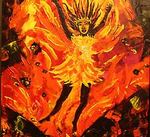 Pele  Goddess of Fire16 x20 acrylic on canvas by eoconnor