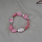 Pink Shell and Silver Stretch Bracelet by sylversorceress