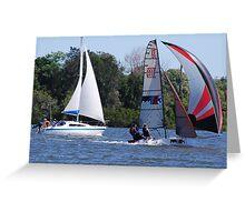 Racing dinghy beats trailer sailer Greeting Card