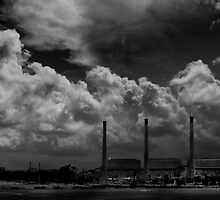 three stacks against the sky- who will win? by Mark Malinowski