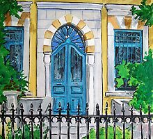 Arched Blue Door by nancy salamouny