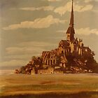 Le Mont St. Michel [Normandy} -acrylics on canvas by Gordon Pegler