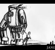 January 9th - Giant Steam Powered Friend by 365 Notepads -  School of Faces