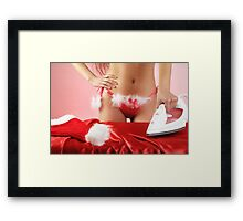 Sexy young woman getting ready for Christmas Framed Print