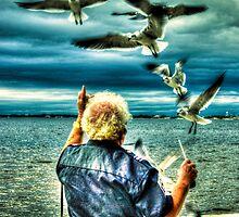 Gulls in flight by LudaNayvelt