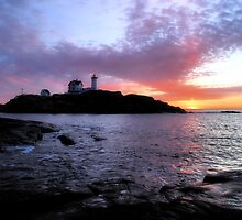 Sunrise Over Nubble Light by GGleason