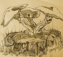 Gymnopilus species (drawing) by Esther's Art and Photography