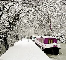 Snowy boat on frozen canal, Oxford by Zoë Power