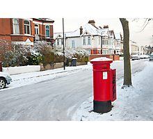 Snowy Letterbox in Idmiston Road, West Norwood, London. Photographic Print